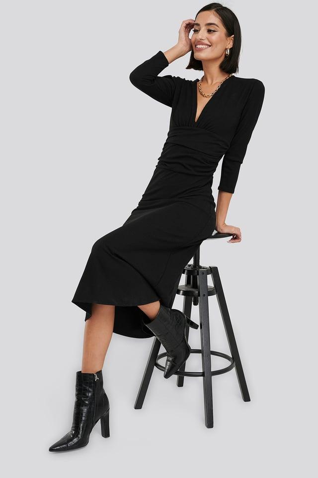 Deep V Waist Detail Dress Black