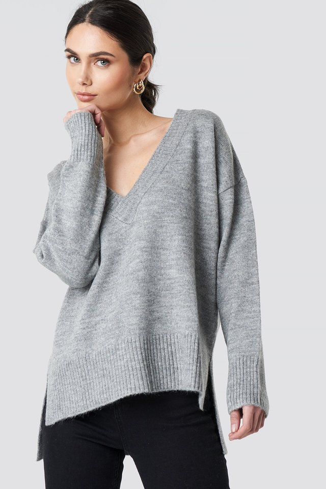 Deep V-neck Oversized Sweater Grey