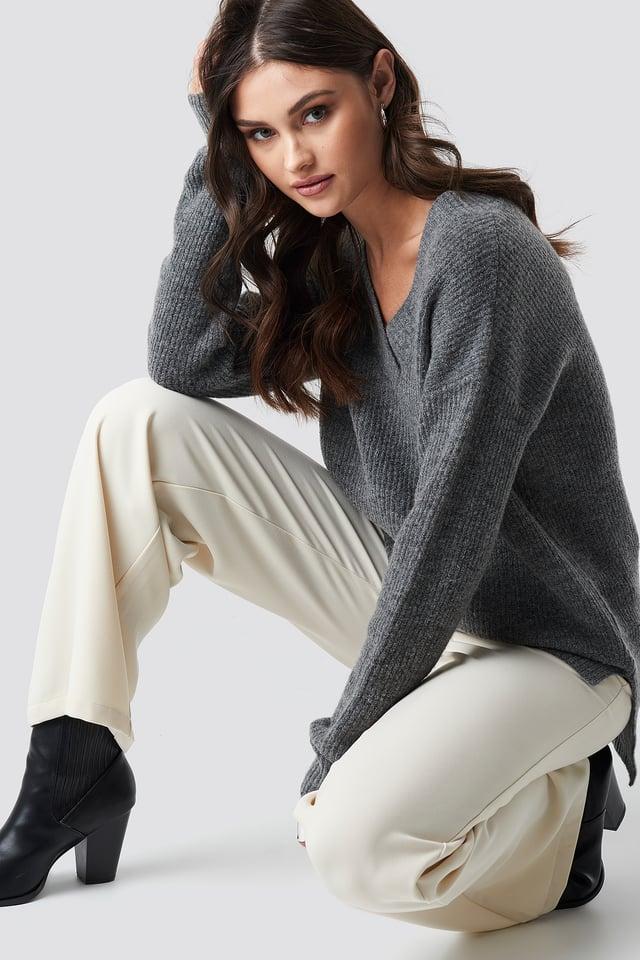 Deep V Neck Wool Blend Sweater Grey Melange