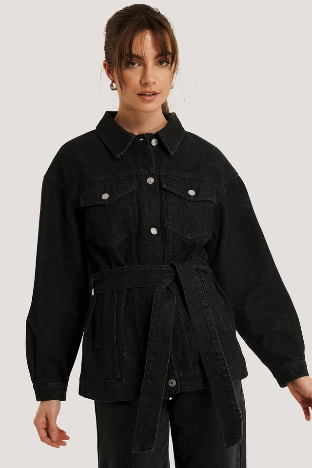 Denim Belted Jacket Black