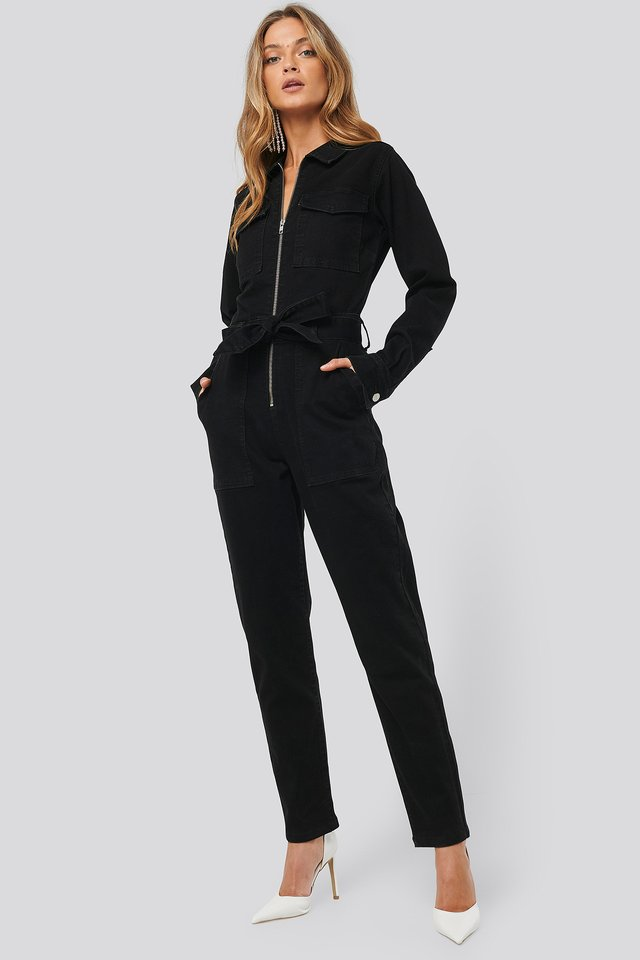 Denim Belted Jumpsuit Black