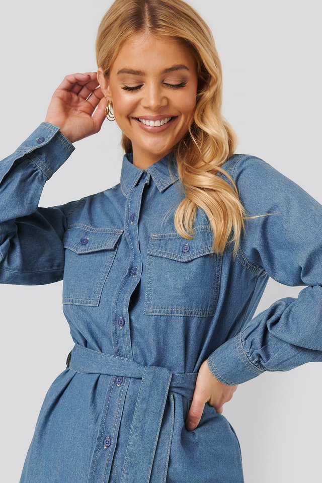 Denim Belted Shirt Mid Blue