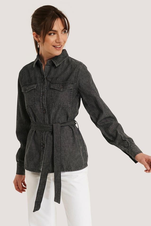 Denimskjorte Washed Black