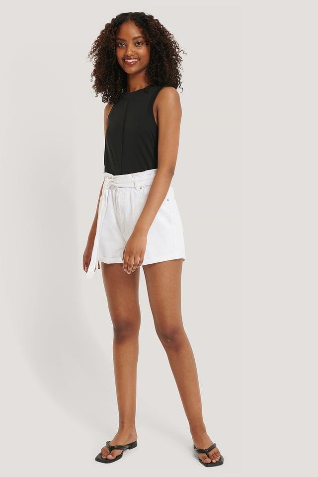 Denim Belted Shorts White