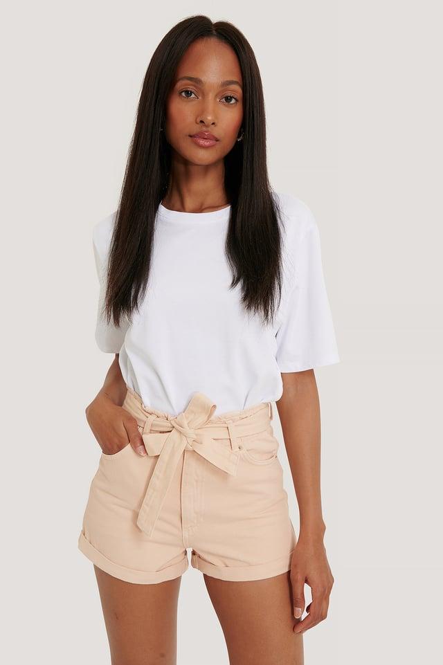 Denim Belted Shorts Pink