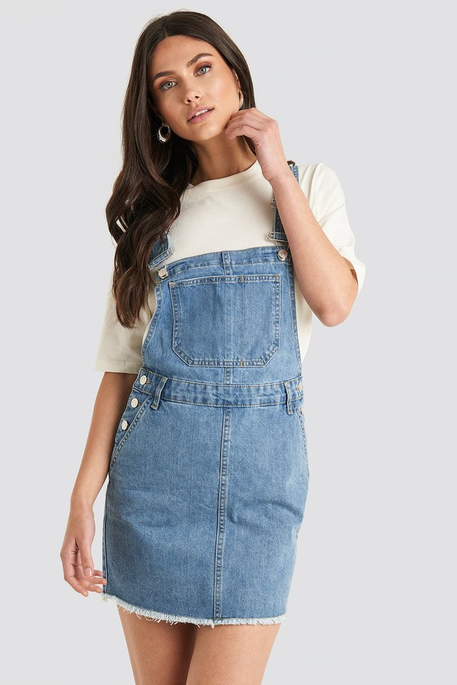 Denim Dungaree Dress Mid Blue