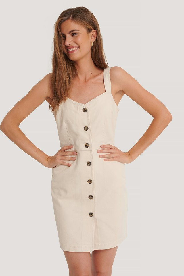 Denim Mini Dress Ecru