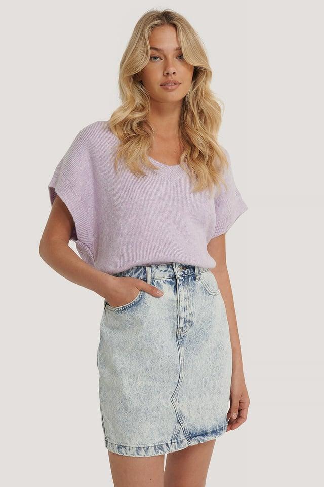 Denim Mini Skirt Light Blue