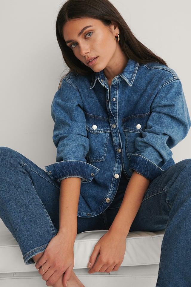 Økologisk Denimskjorte Mid Blue