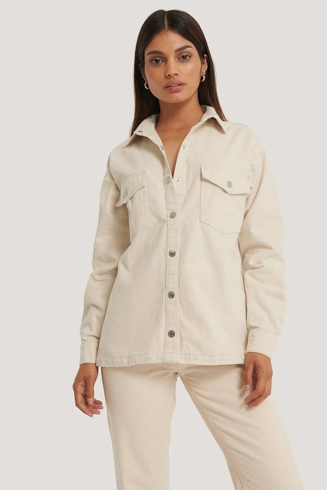 Økologisk Denimskjorte Offwhite