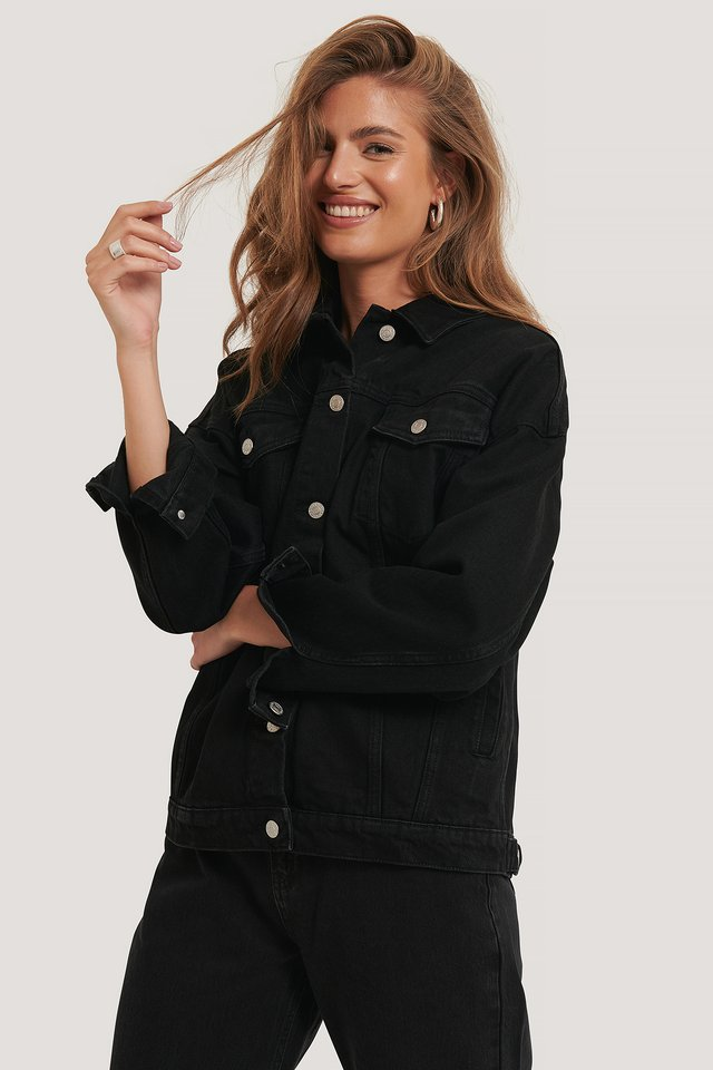 Denim Oversized Jacket Black