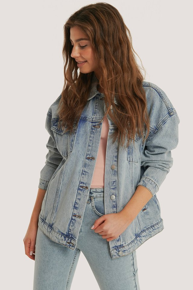 Übergroße Jeansjacke Light Blue