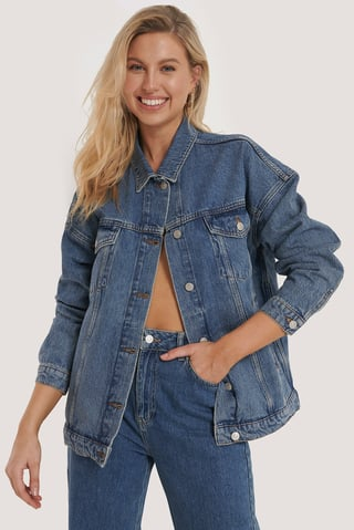 Mid Blue Übergroße Jeansjacke