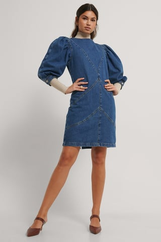 Mid Blue Denim Puff Sleeve Dress