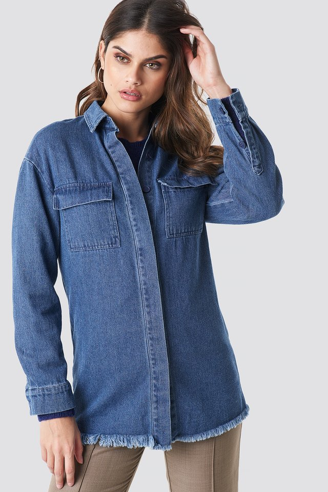 Denim raw Hem Shirt Mid Blue