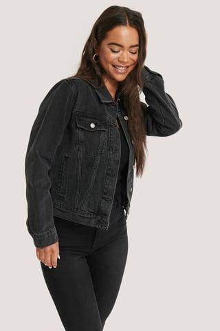 Black Stone Wash Jeansjacke Regular Fit