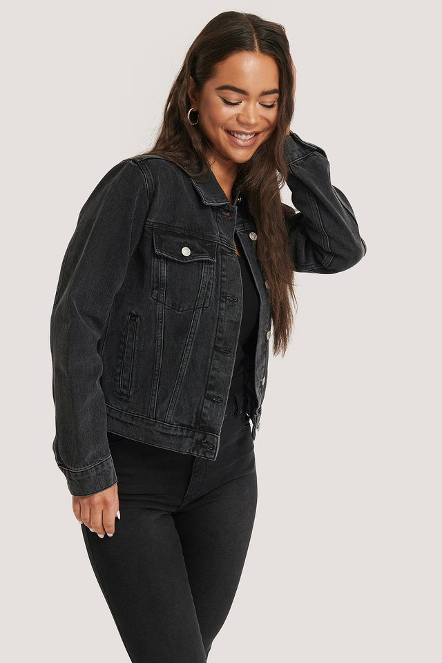 Jeansjacke Regular Fit Black Stone Wash