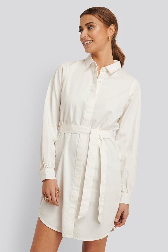 Dżinsowa Koszula Mini Sukienka Ecru