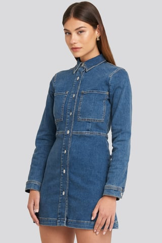Blue Denim Shirt Mini Dress