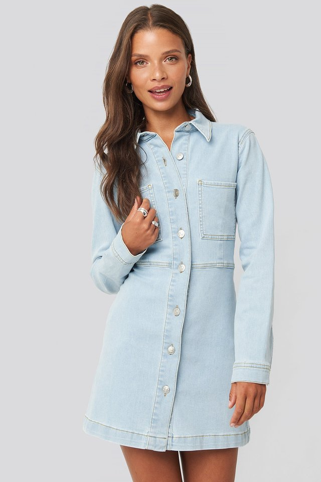 Denim Shirt Mini Dress Light Blue Wash