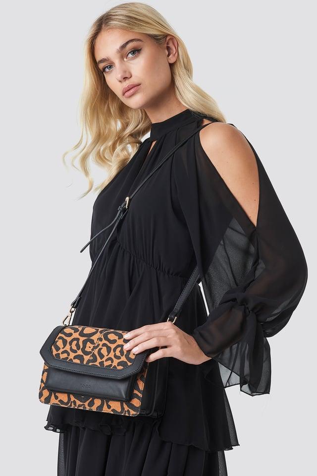 Denim Shoulderbag With Chain Strap Leopard