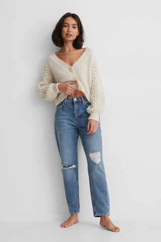 Mid Blue Organic Destroyed Detail Mom Jeans