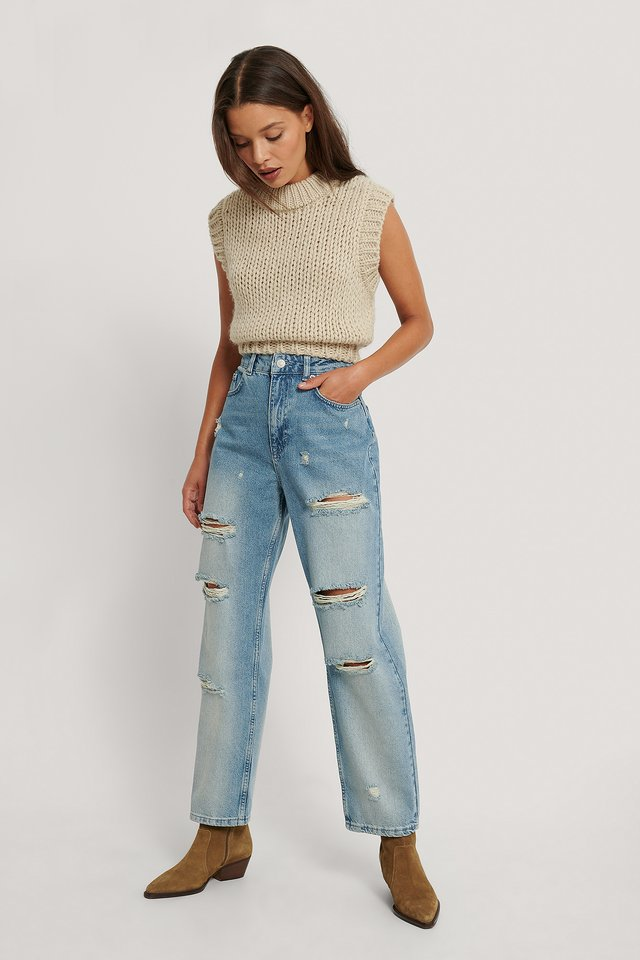 Destroyed High Waist Cropped Jeans Mid Blue