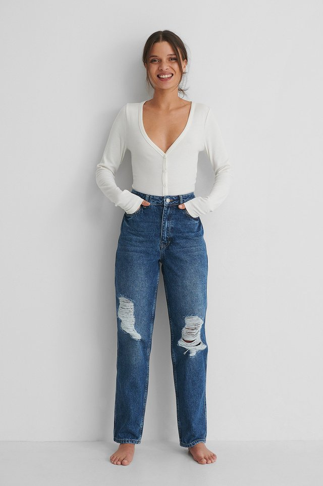 Mid Blue Organic Destroyed Straight Fit High Waist Jeans