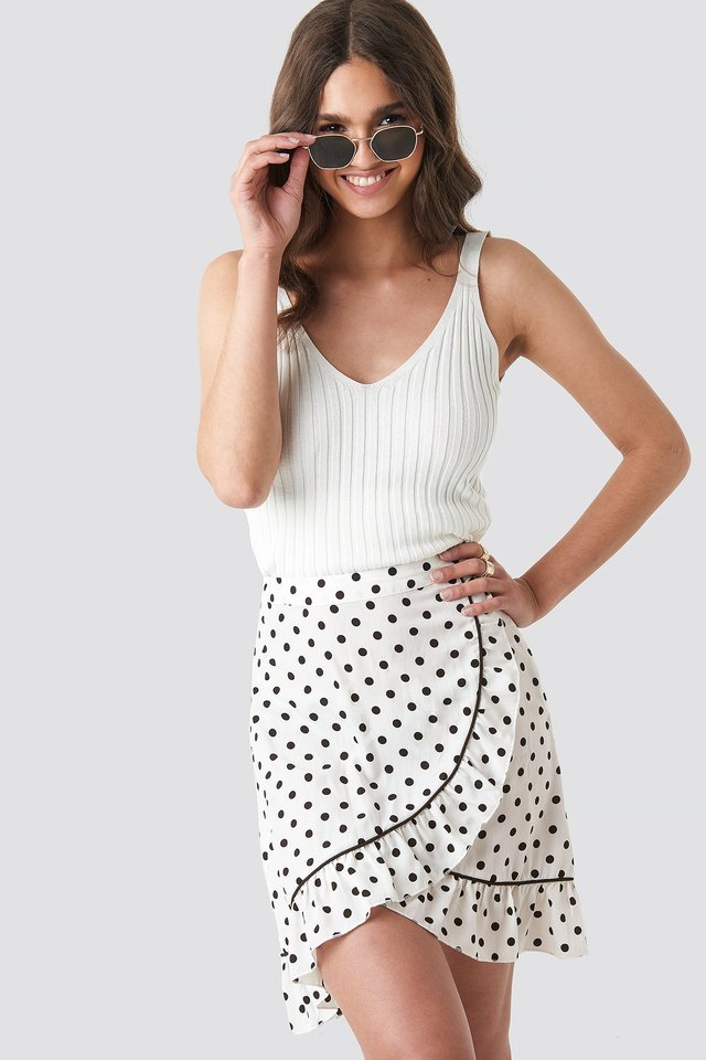 Binding Detail Dot Mini Skirt White/Black Dot