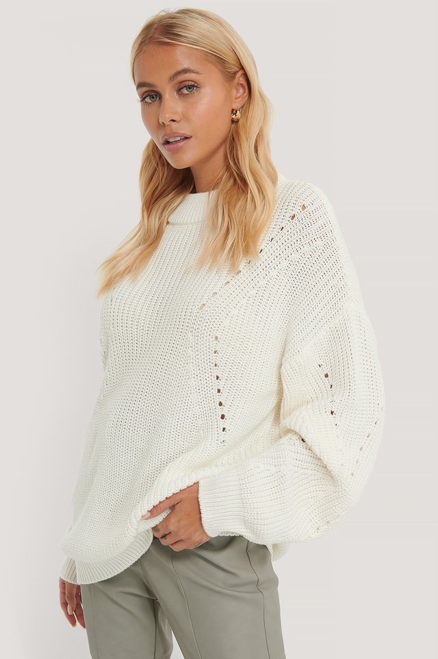 Offwhite Detail Knitted Oversized Sweater