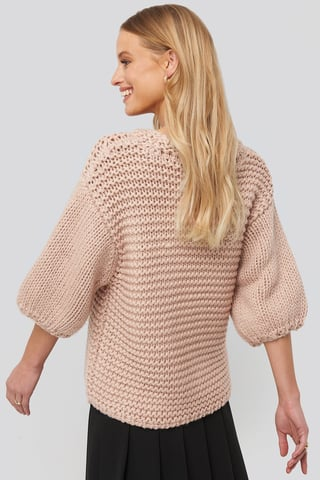 Misty Rose Detail Neck Short Sleeve Sweater