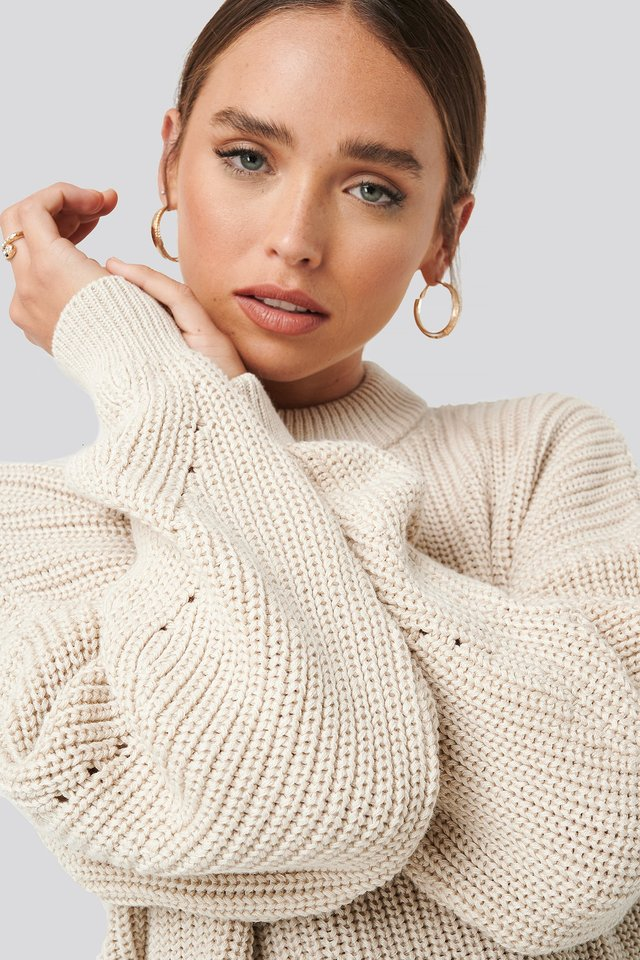 Detailed Sleeve Oversized Knitted Sweater Beige