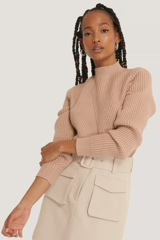 Beige Diagonal Detail Knitted Sweater