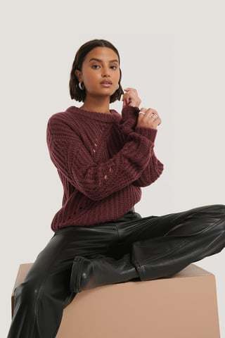 Burgundy Diagonal Knitted Sweater