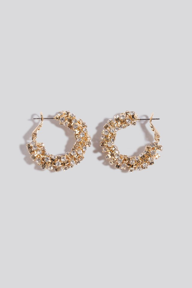 Diamant Detailed Hoop Earrings Gold