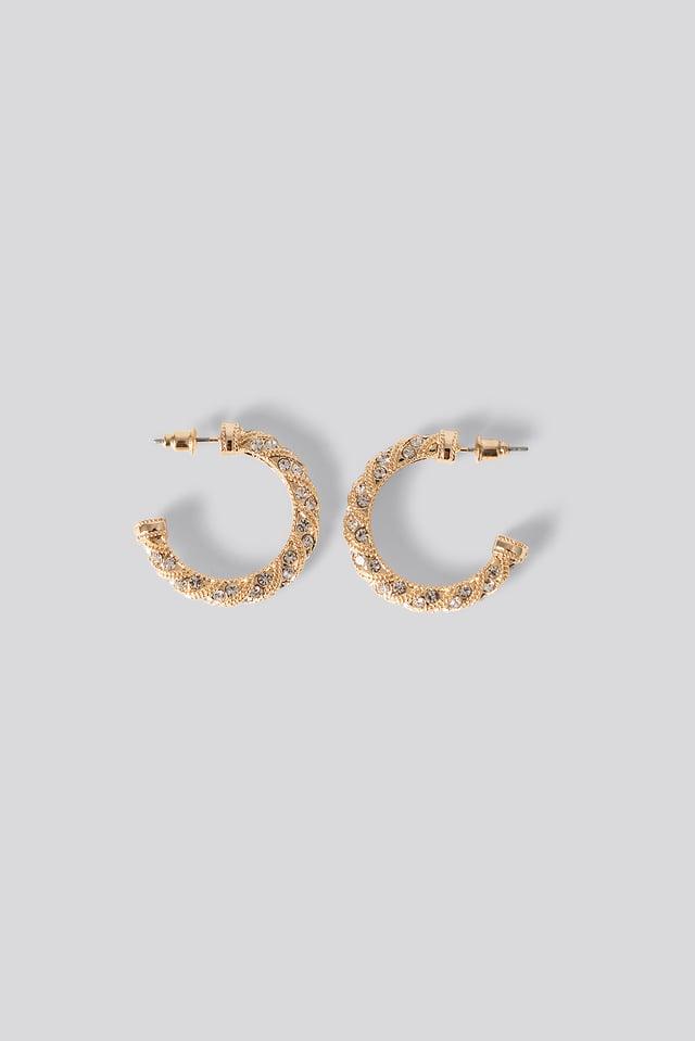 Diamante Detail Hoop Earrings Gold