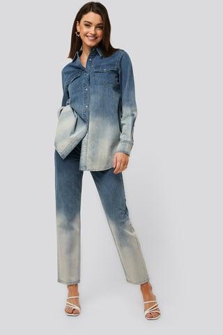 Blue Mom Jeans Med Høyt Liv