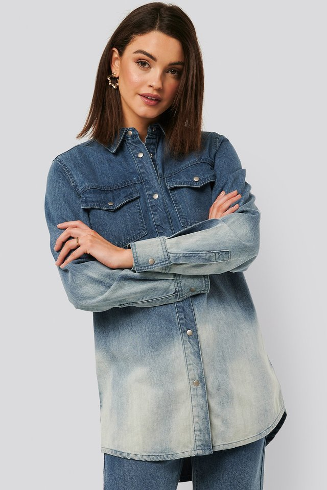 Dip dye Denim Shirt Blue