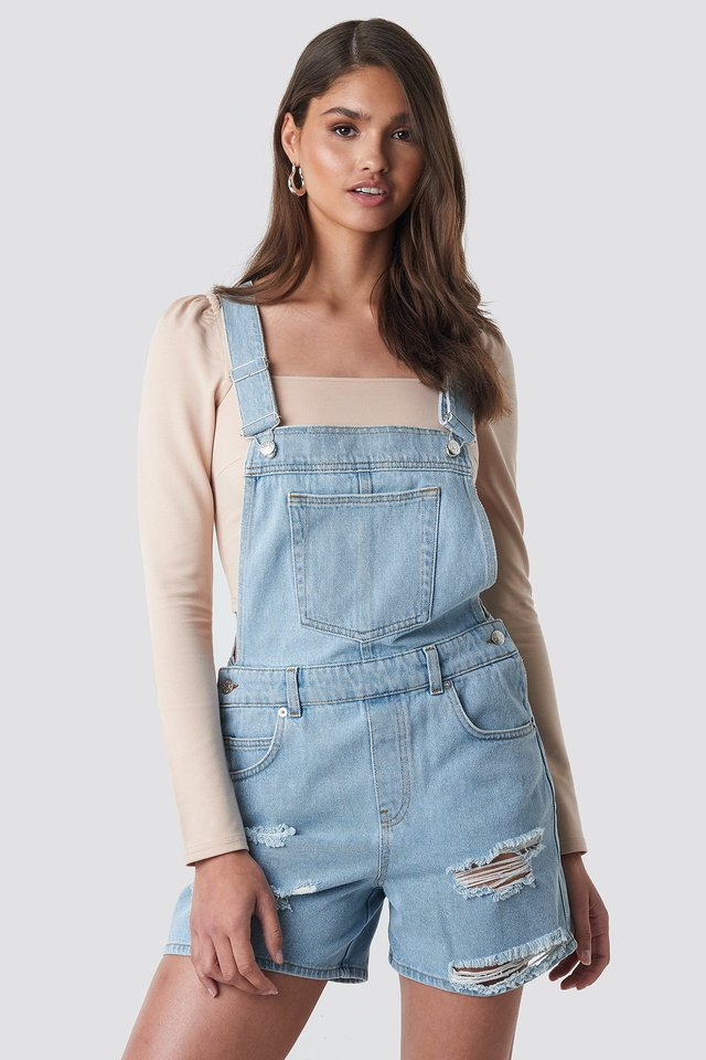Distressed Denim Short Dungarees Light Blue Wash