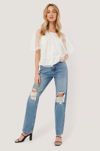 Light Blue Distressed Straight Fit Jeans