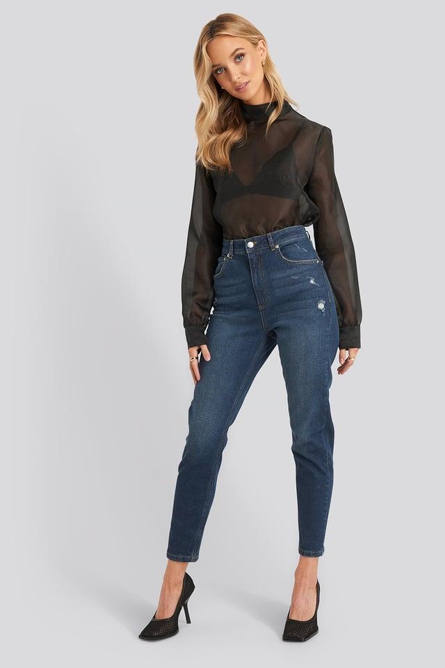 Distressed Jeans Dark Blue