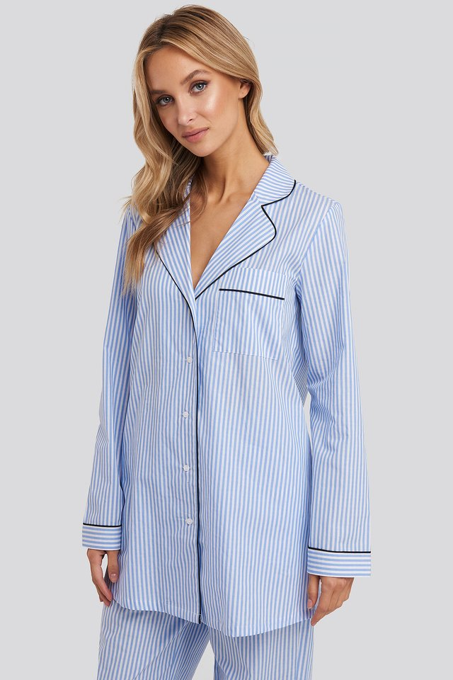 Dobby Cotton Night Shirt Blue/White Stripe