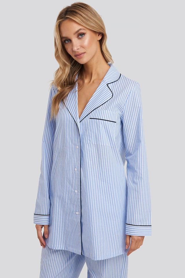 Dobby Cotton Night Shirt Blue/White Stripe