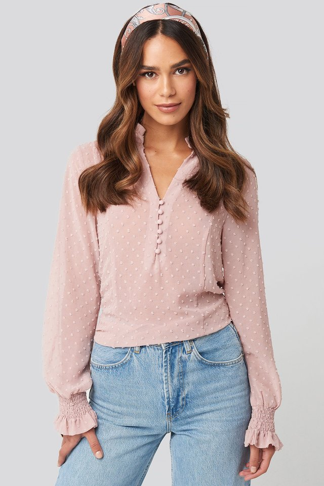 Dobby Flowy Buttoned Blouse Dusty Pink