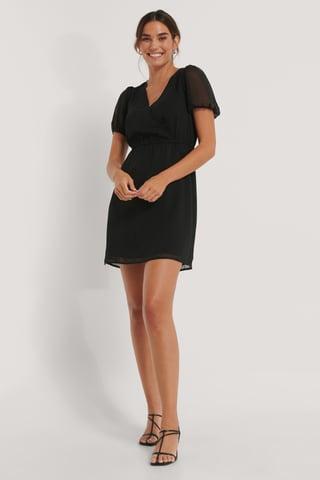 Black Luźna Sukienka O Drobnym Wzorze