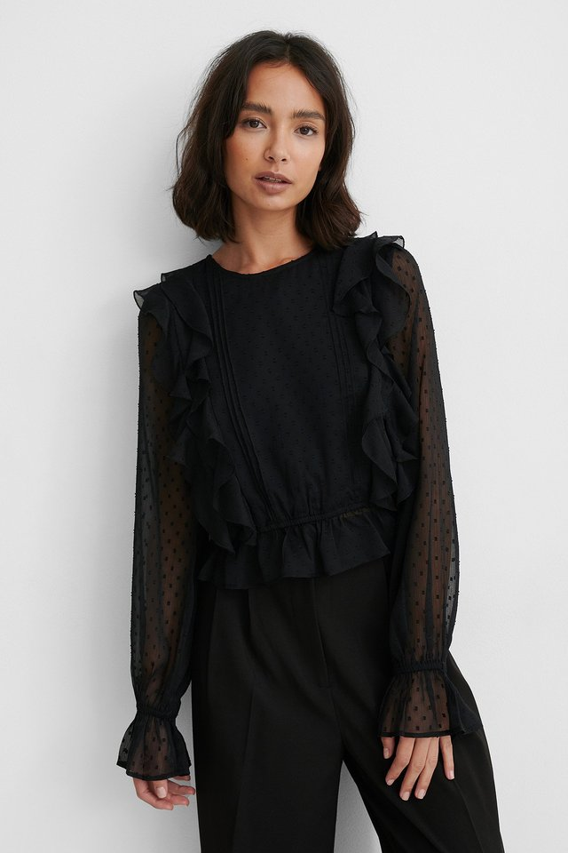 Black Dobby Multi Frill Blouse