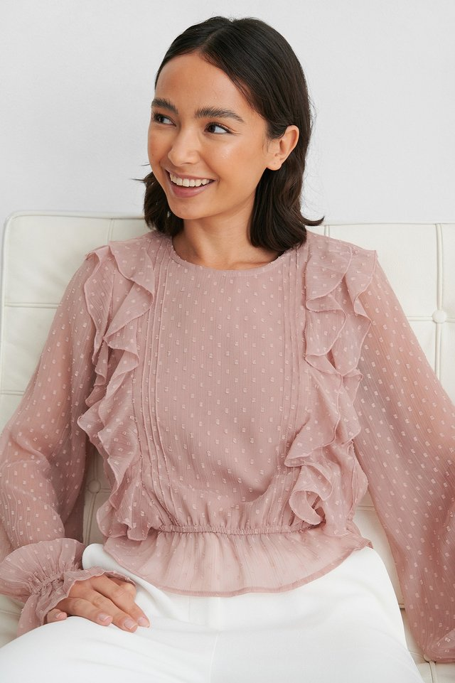 Dusty Pink Dobby Multi Frill Blouse