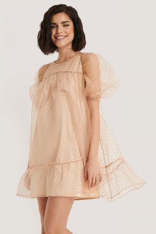 Dusty Pink Dobby Organza Mini Dress