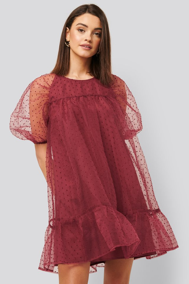 Dobby Organza Mini Dress Burgundy