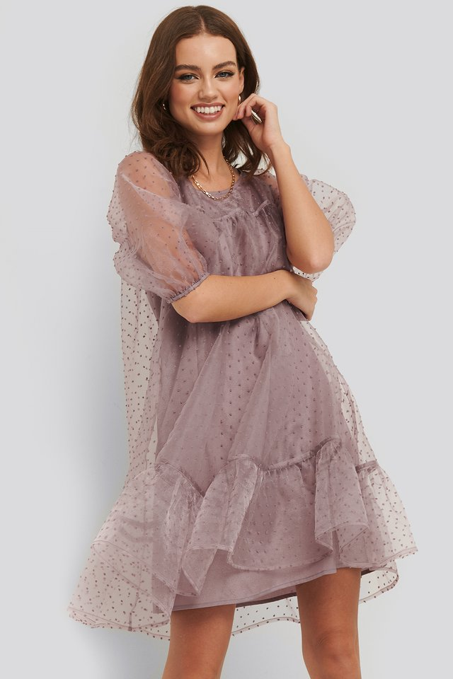 Dobby Organza Mini Dress Lilac